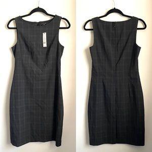 NWT Theory Betty Plaid Shift Dress Charcoal Grey 6
